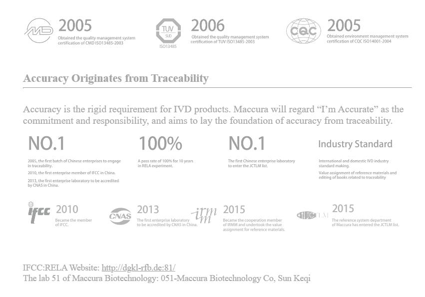 Maccura Accuracy Originates from Traceability